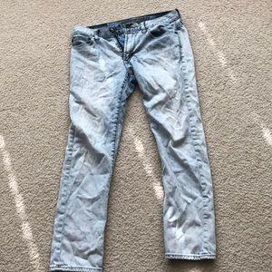 Men's slim straight blue jeans